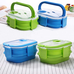 1600ml silikonowe składane pudełko na drugie śniadanie dwuwarstwowe przenośne pudełko bento o dużej pojemności składane pudełko na lunch BPA za darmo w Pudełka śniadaniowe od Dom i ogród na