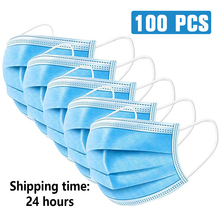 100pcsMask Disposable Non woven 3 Layer Ply Filter Mask mouth Face mask filter safe Breathable dustproof Protective masks