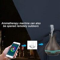 Smart Wifi Luftbefeuchter Ätherisches Öl Aromatherapie Diffusor mit Alexa Google App Voice Control 400Ml Dunklen Holzmaserung Uns stecker auf