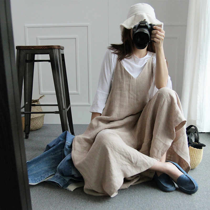 Harajuku 2019 консервативный стиль женские Комбинезоны из хлопка и льна женская летняя одежда в стиле ретро Mori v-образным вырезом винтажные Свободные Комбинезоны