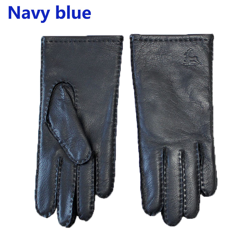 Image 5 - Deerskin gloves women's thin wool lining hand stitched autumn warm outdoor travel black ladies driving leather gloves-in Women's Gloves from Apparel Accessories