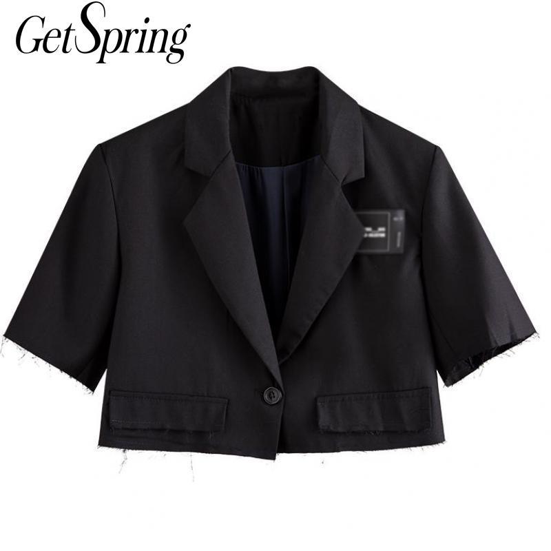 Getspring Женский блейзер с коротким рукавом, черный Женский блейзер, куртки для отдыха, универсальные короткие женские блейзеры, 2020 летний костюм, пальто        АлиЭкспресс