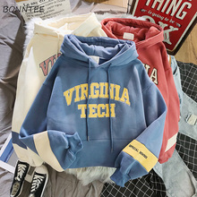 Hoodies Frauen Dicker Brief Samt Warme Pullover Winter Mantel Kordelzug Harajuku Sweatshirt Rosa Frauen Korean New Hohe Qualität