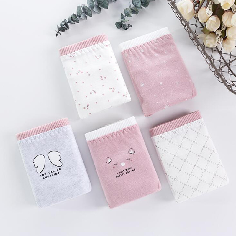 2019 New 4PCS/Lot Children Cotton Underwear Young Girls Briefs Pig Printed Briefs Angel Panties Comfortable Ladies Panties B011
