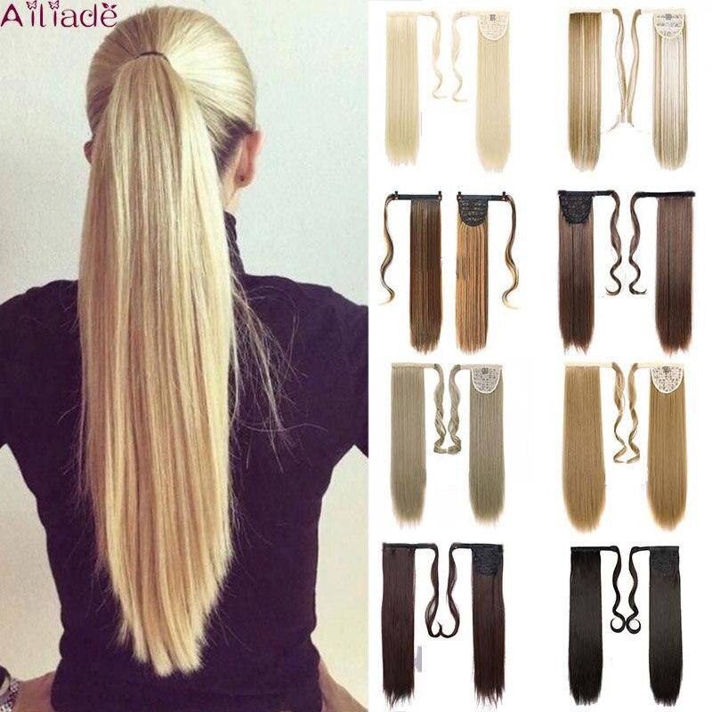 Ailiade длинные прямые шиньон конский хвост из натуральных волос клип в конский хвост волосы для наращивания, Обёрточная бумага вокруг на синт...