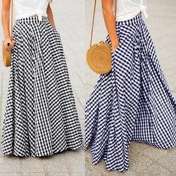 Saias femininas 2021 zanzea vintage xadrez verificar saia longa zíper plissado faldas boêmio jupe femme casual bolsos maxi saias