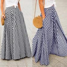 ZANZEA – Jupe longue Vintage à carreaux pour femmes, 2021, fermeture éclair plissée, style bohème, poches, Maxi