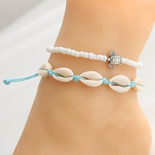 Vintage Fashion Shell Beads Anklets For Women Moon Sun Retro Beach Rope Ankle Bracelet On Leg Summer Foot Jewelry(China)