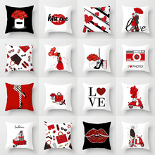 Pillow case 45*45CM Red Cartoon Valentine Pillowcase Home Sofa Pillow Cushion Cover Decorative Pillowcase 1pc pillow case pillowcase decorative pillow cover cartoon dogs bedding for kids baby boys girls 70 70 50 70 50 75 65 65 45 45