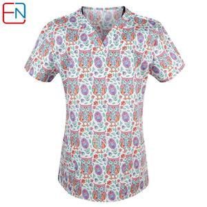 Image 4 - Hennar Print Women  Scrub Tops Short Sleeve Women Scrub Tops  scrub Uniform  Clinic Women Nurse Costumes