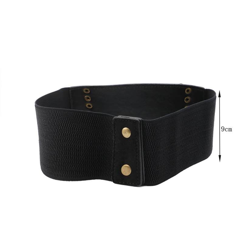 Women Elastic Buckle Wide/Tassel Waistband Retro Lady Corset Stretch Waist Belt DXAA