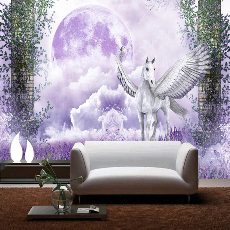 Custom 3D Wallpaper Modern Romantic Lavender Clouds White Horse Mural Living Room TV Sofa Kid's Bedroom Home Decor Backdrop Wall