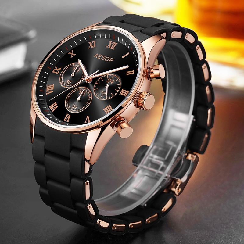 AESOP Man Rose Gold Sport Watch Men Men's Wristwatch Male Clock Men Silicone & Alloy Band Quartz Wrist Watches Relogio Masculino