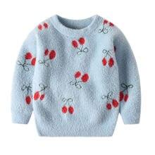Детская зимняя одежда свитеры для маленьких девочек теплый топ
