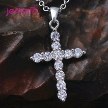 Simple Full Austrian Crystal Claw Setting Cross Necklaces for Men Women Original 925 Sterling Silver Chain Pendant Jewelry(China)