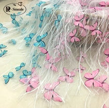 New 3D Butterfly Applique Children's Clothing Lace Fabric Skirt Skirt Fashion Mesh Fabric Width 160CM RS2768
