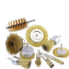 Steel wire brush grinding wheel with rod for rust removal, polishing, electric grinding, electric drill, steel wire brush set