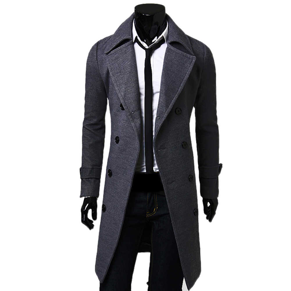 Abrigo de moda de los hombres abrigo de lana de invierno cálido de trinchera chaqueta Casual de negocios abrigo Parka пальто мужское