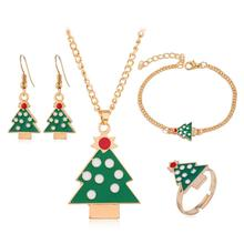 Cartoon Exquisite Christmas Tree Pendant Earrings Fashion Ring Necklace Bracelet Set Combination Trendy All-match Jewelry circle moon necklace bracelet earrings with ring set