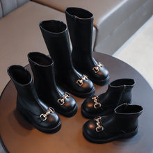 Botas de felpa de cuero suave para niños y niñas, a la moda Zapatos Infantiles, cálidos, hasta el tobillo, hasta la rodilla, hasta media pantorrilla, para otoño e invierno, 2020