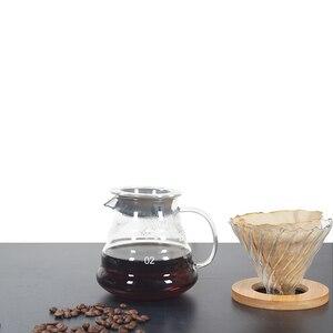 Image 5 - 500ML/300ML di Legno staffe di Caffè di Vetro Dripper e Pot Set Japness stile V60 di Caffè di Vetro Filtro Riutilizzabile filtri di caffè