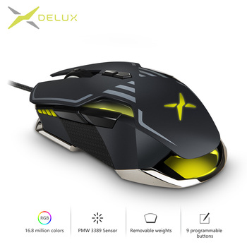 Delux M628 PMW3389 Sensor 16000 DPI Gaming Mouse 9 Buttons RGB Wired Optical Both Hands Mice with Weight set For Gamer PC Game