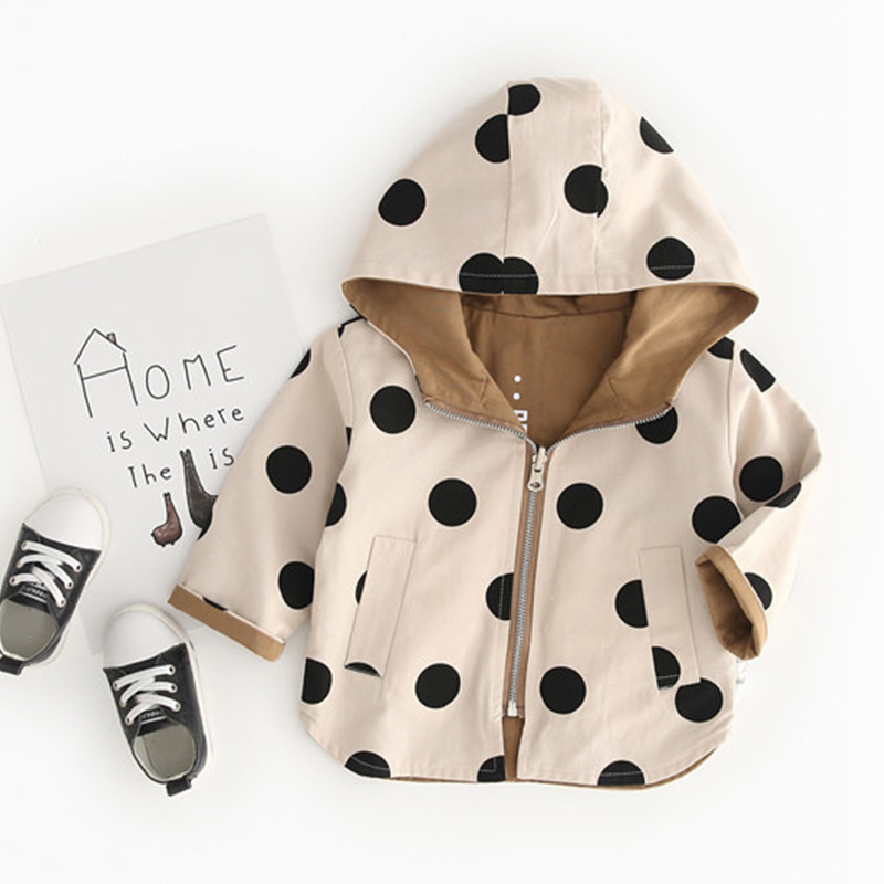 Baby Girls Jacket and Coat Fall Hooded Boys Windbreaker Jacket Polka Dot 2 Sides Wear Toddler Kids Jacket Outerwear Clothes image