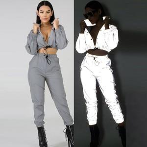 2020 Sexy Women Tracksuit Two Pieces Set Zip Reflective Light Jackets&Shorts Jumpsuit Clubwear Festival k-pop Clothes Plus Size
