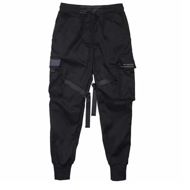 Hip Hop Boy Multi-pocket Elastic Waist Design Punk Casual Trousers Jogger Harem Pant Men Street wear Male Dancing Black Pant 3