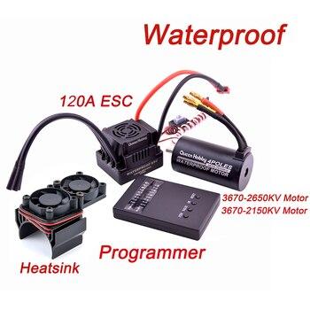 Waterproof 3660 3300KV / 3800KV & 3670 2150KV / 2650KV Brushless Motor 80A / 120A Brushless ESC Combo Set for 1/8 RC Car