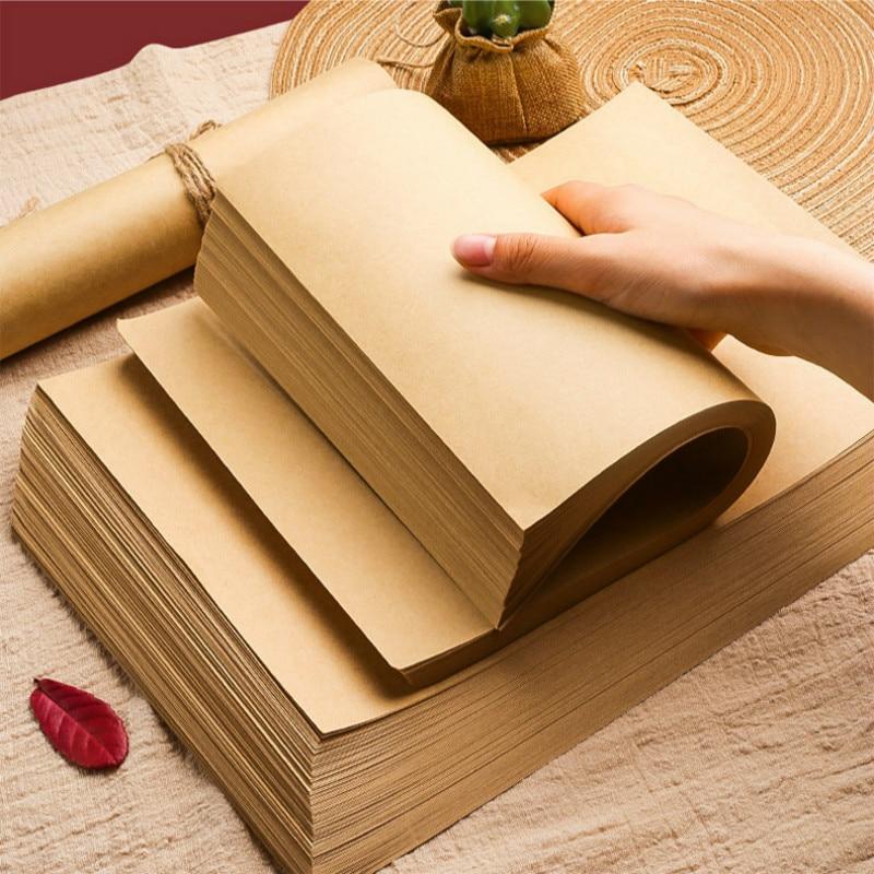 A4 Blank Kraft Postcard Hand Drawing DIY Graffiti Gifts Packaging Decor Paper Handmade Brown Raw Wood Pulp Kraft Paper Printing