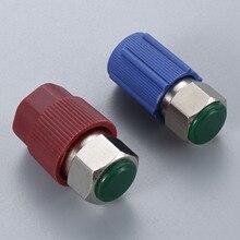 밸브 코어 및 서비스 포트 캡이있는 스트레이트 어댑터 R12 R22 ~ R134a 개조 부품 키트 변환 어댑터 밸브