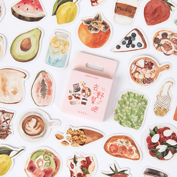 цена на 46pcs Go Picnic Stickers Set Delicious Food Fruit Drink Note Sticker Home DIY Art Decoration Adhesive Diary Gift Seal A6854