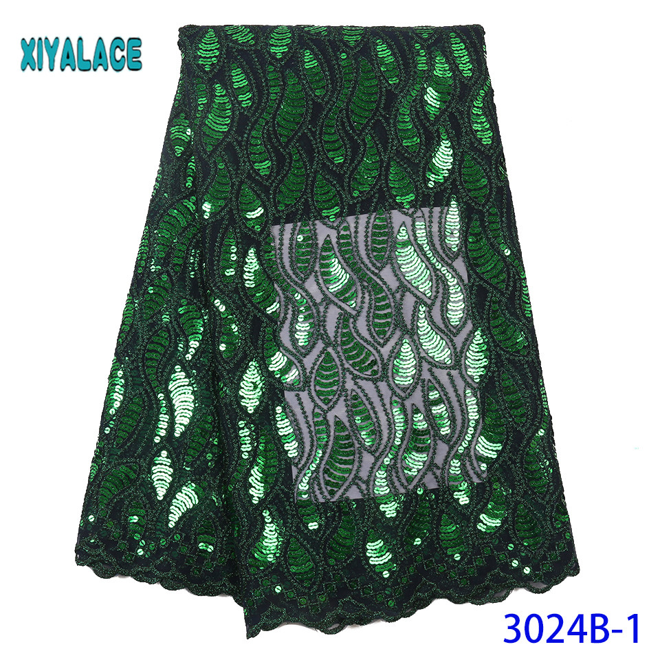 2019 High Quality African Nigerian Lace Fabric French Lace Fabric Flower Embroidered Tulle Lace Fabric Sequins  YA3024B-1