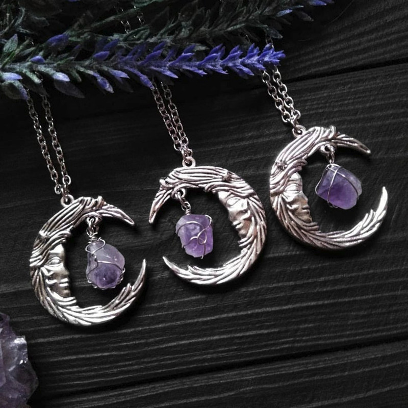 Electroformed jewelry Goth Victorian Gothic Witchy Pentagram Crescent Moon Phases Black Quartz Pendant Wicca Raw Crystal Samhain
