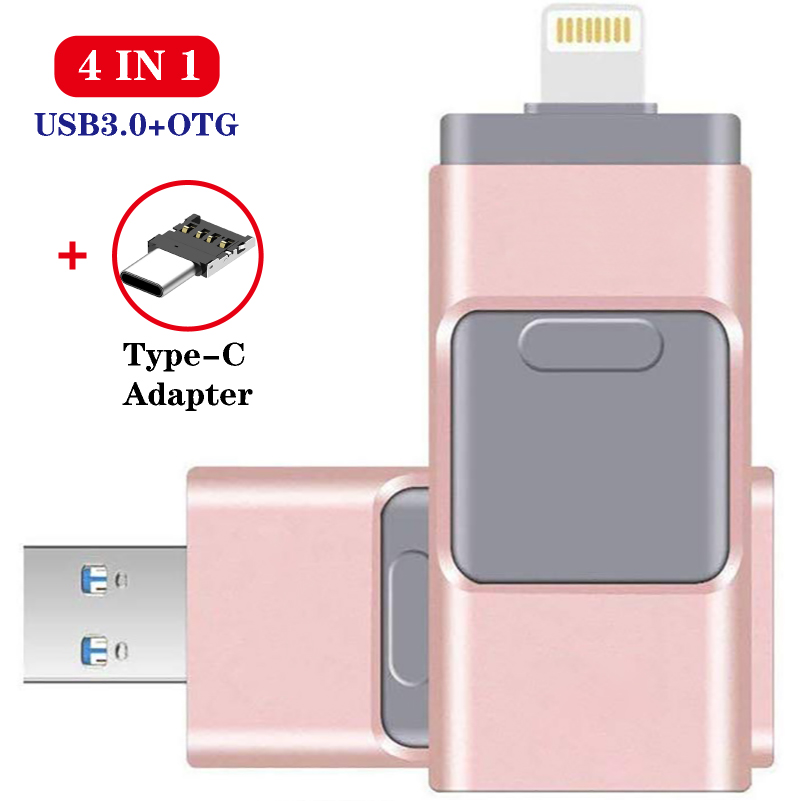 Usb Flash Drive For IPhone & IPad & Android Phone External Storage 128GB Lightning & TYPE-C & USB 4 IN 1 Pendrive Gift Usb Stick