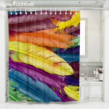 Feather Printed Waterproof Shower Curtain 3D Curtains For Bathroom Shower Colorful Fabric Curtain For The Bath cortina de ducha waterproof snowman printed bath christmas shower curtain