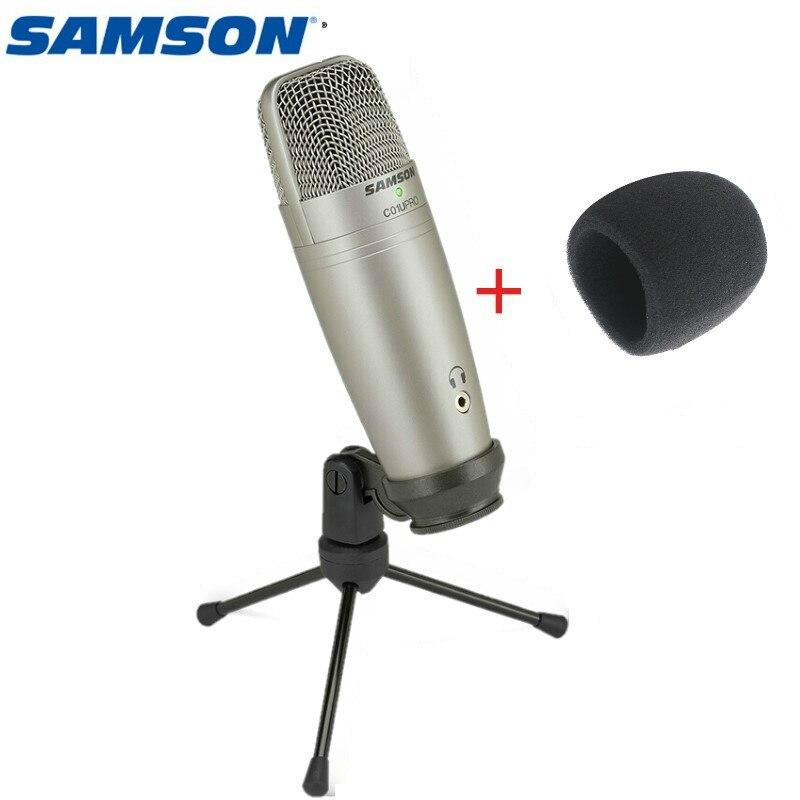Original Samson C01u Pro éponge à vent libre) Microphone à condensateur Usb pour enregistrement de musique en Studio vidéos youtube