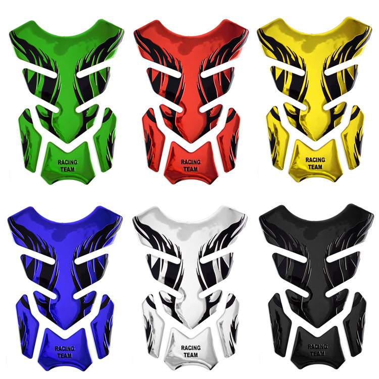For Honda Yamaha Tankpad Sticker Fishbone 3D Tank Pad Stickers Oil Gas Protector Cover Decoration Flame Motorcycle Accessories