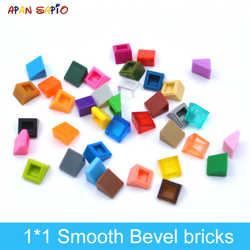 400pcs DIY Building Blocks Figure Smooth Bevel Bricks 1x1 Educational Creative Toys for Children Size Compatible With 54200