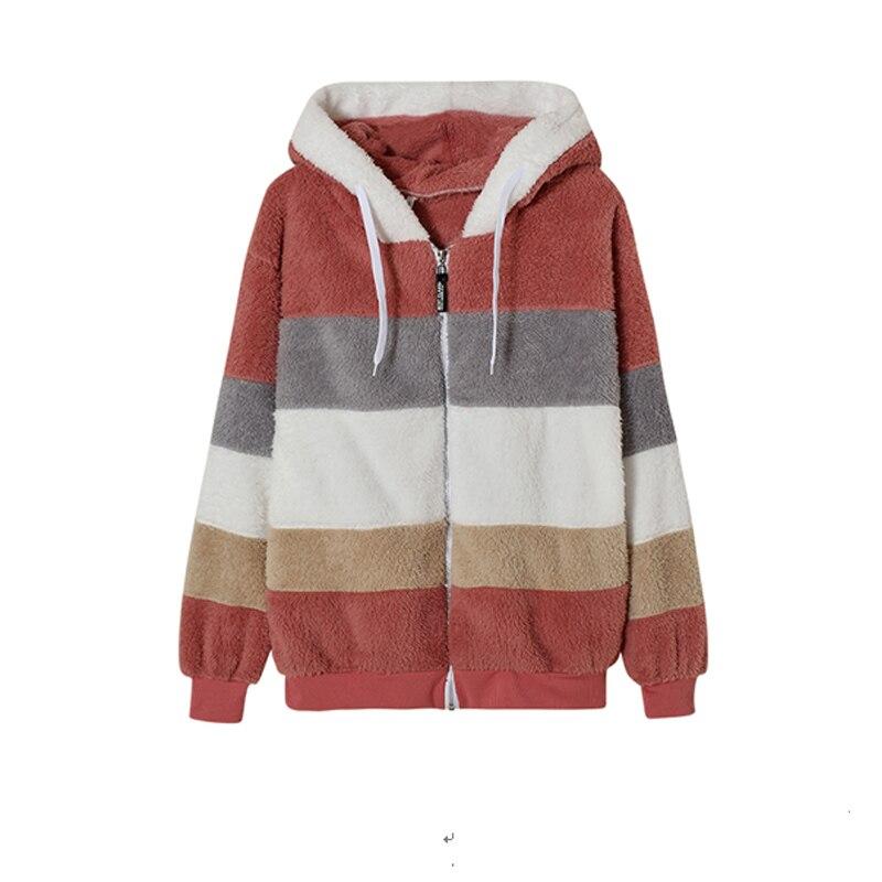 H2baee32d8f6b4f16b4a7e33c92f0c1ac5 Female Casual Loose Long Sleeve OuterwearWinter New Warm Plush Furry Women Jackets Fashion Patchwork Zipper Pocket Hooded Coats