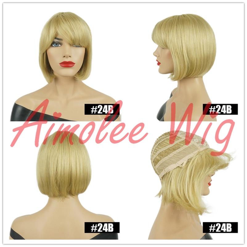 Women Lady Bob Wig Short Straight Bangs Cosplay Party Full Hair Brown HW-248