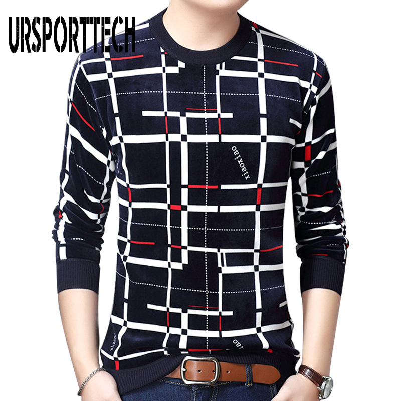 Autumn Winter Sweater Men Pullover Casual Plaid Sweater Mens Thick Warm Jersey Knitted Sweater Mens Pullovers Slim Fit Knitwear
