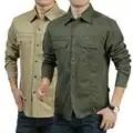 Lente Herfst Casual Mannen Militaire Cargo 111% Katoen Lange Mouwen Zakelijke Dress Shirts Camisa Sociale Masculina 7XL