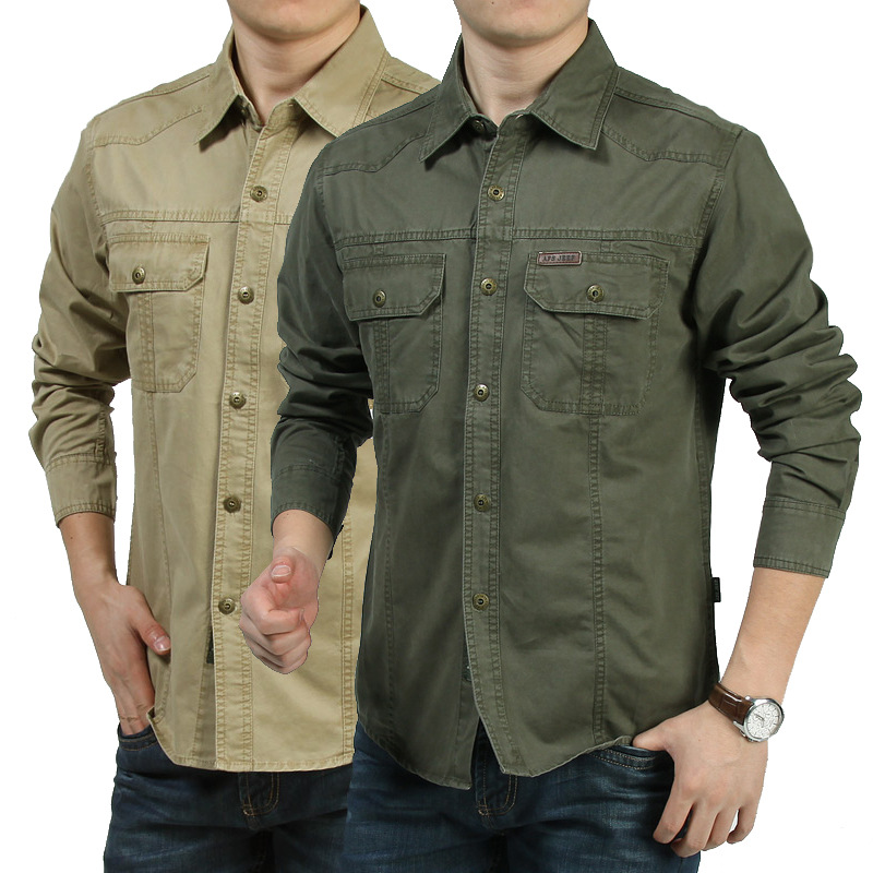 Spring Autumn Casual Shirts Men Army Military Cargo 111% Cotton Long Sleeve Business Dress Shirts Camisa Social Masculina 7XL