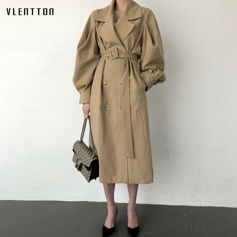 Autumn Winter Vintage Oversize Long Trench Coat Women Belt Double Breasted Korean Office Windbreaker Outwear Female Ropa Mujer