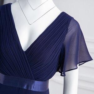 Image 5 - Grande taille robes de soirée jamais jolie col en v Nay bleu élégant a ligne mousseline de soie longue robes de soirée 2020 manches courtes robes doccasion