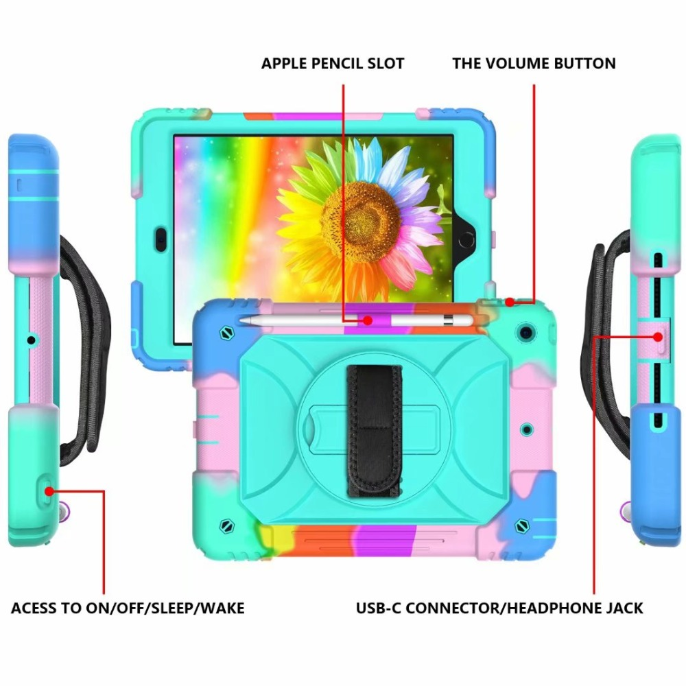 360 Stand iPad Generation For For Case Cover Hand 7th Rotating iPad Holder Strap Pencil