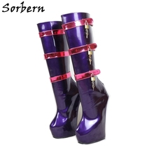sorbern high thigh boots sexy fetish heels ballet shoes boot heels women custom color wide calf leg black thigh high boots Sorbern Purple Custom Wide Calf Boots Women Red Straps Lockable Keys Sexy Fetish Boots Bdsm High Heel Womens Ladies Boots