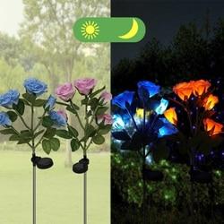 5 LED zasilany energią słoneczną na zewnątrz lampa trawnikowa sztuczna róża kwiat ogród ze stali nierdzewnej dziedziniec światła światła lampa krajobrazowa